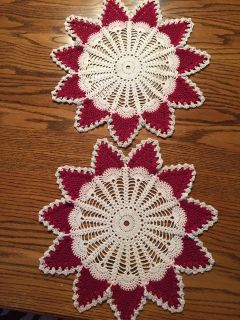 Pair of 15 Vintage Holiday Crocheted Doilies