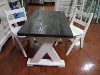 Adorable custom built child size farmhouse table with refinished chairs