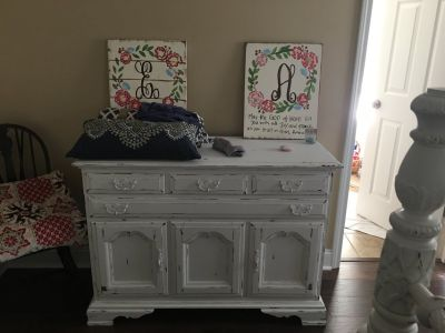 White Distressed Antique Buffet