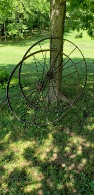 Vintage wagon wheels,4 1/2 feet tall,$250 for both