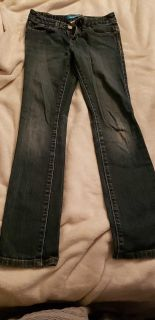 Old Navy size 10 skinny jeans with adjustable waist.
