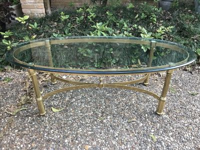 Nice Brass & heavy thick Beveled Glass coffee table