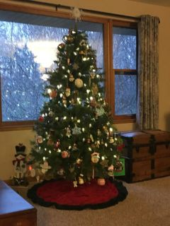 Christmas Tree, 6 foot tall, includes strands of large white/clear bulb lights
