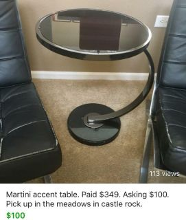 Martini End table. Paid $349. Asking $100.