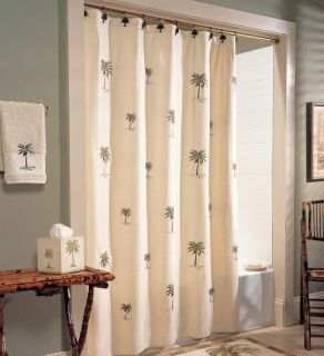 Coscill Port O Call embroidered palm tree fabric shower curtain: brand new (no package)