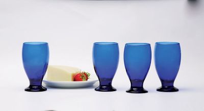 NEW Circleware Uptown Cobalt Blue Glass Goblets, Set of 4, 12 ounce
