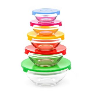 NEW set of glass nesting bowls with colorful lids