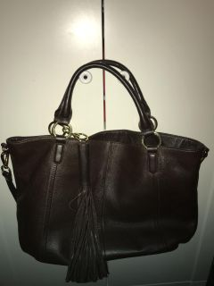 GILI FROM QVC EUC BROWN LEATHER TOTE BAG