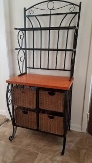 Baker's Rack with storage baskets