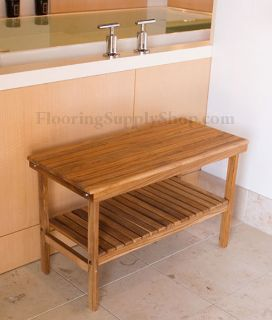 Teak Wood Rectangle Bench with Removable Shelf
