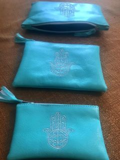 Leather pouches and matching bracelet NEW