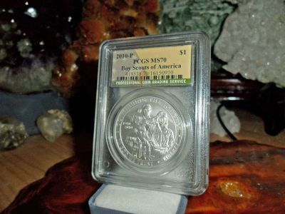 Exceptional 2010-P Boy Scouts of America Silver Dollar MS 70 PCGS Flag Label Lus