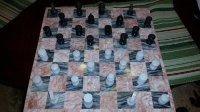14 in. Marble Chess Board Set