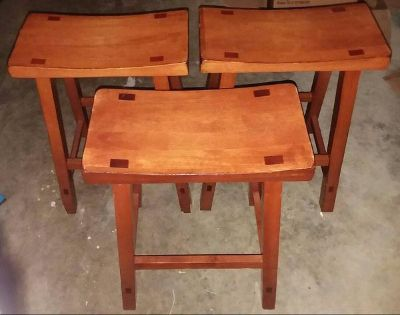 THREE/SOLID WOOD/STOOLS.......EXCELLENT CONDITION