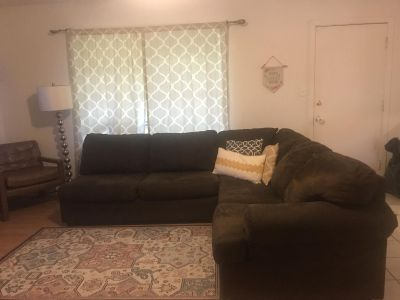 Brown Microfiber Sectional Couch - Good Condition