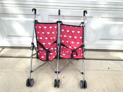 Double/twin baby doll umbrella stroller