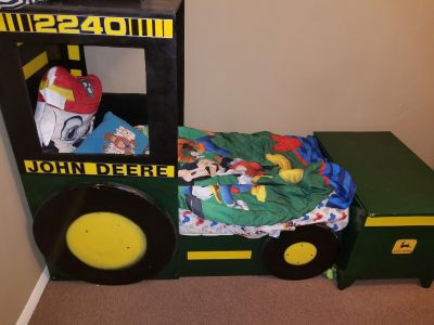 John Deere toddler bed with full size toy box.