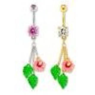 Hibiscus flower belly ring