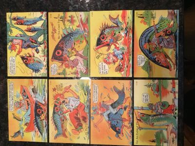 Vintage post. Cards 1940 Fishing CT Art Colortone lot of eight uncirculated one cent stamp