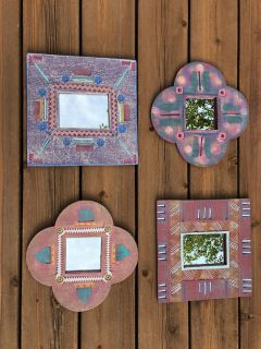 Set of 4 Funky Whimsical Colorful Mirrors