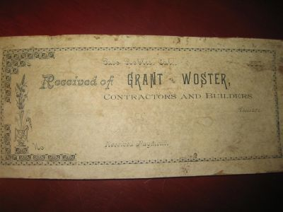 1887 YEAR OLD RECEIPT BOOK END from GRANT and WOSTER, (129 years old