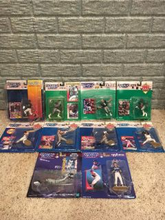 (10) Starting Lineup Figures. Troy Aikman, Emmitt Smith, Frank Thomas, Canseco, Cunningham, Nomo, +