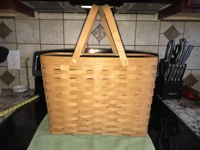 1995 Longaberger large magazine basket with to swing handles 15 1/2 x 8 1/2 x 11 1/4 (17 1/2 with handles)