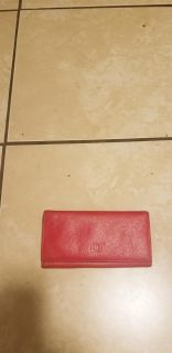 Red leather wallet clutch. EUC. RFID card holder