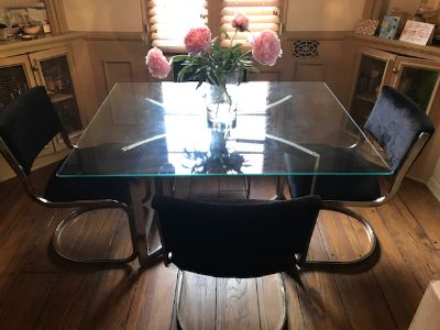 Glass mid century table with (4) velvet chairs
