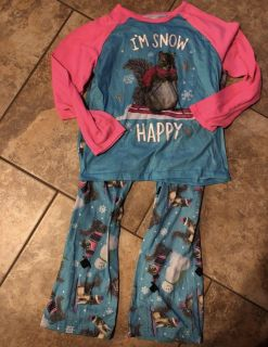 Justice Brand- IM SNOW HAPPY 2pc Pjs Top With Matching Pants. Size 12