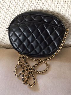 Black faux leather quilted handbag