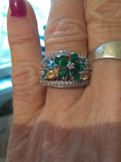 Vintage 925 green stone ring signed