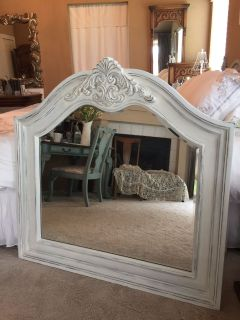 GORGEOUS..Large Heavy Mirror..entryway/powder room/dining room/bedroom...Beveled mirror solid wood thick frame ..