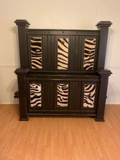 Queen bed frame and 2 matching end tables.