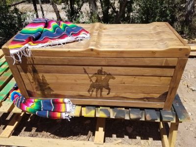 Rustic native firewood bench boxes