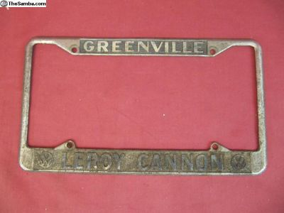 Leroy Cannon VW Greenville License Plate Frame