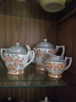Vintage lusterware teapot, creamer and sugar set