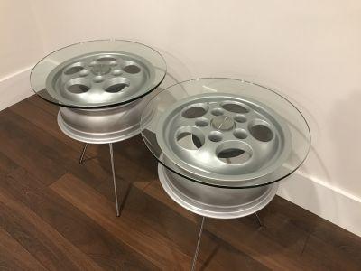 (2) Custom Porsche Phonedial Wheel Tables