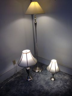 Three Metal Lamps Matching Brushed Silver Finished