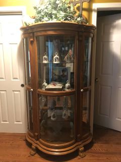 Solid wood lighted curio cabinet