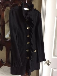 Anthropologie adorable wool sweater coat with ruffle detail. Size M