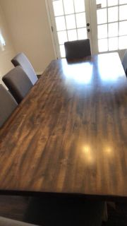 8ft solid wood dining table with 8 chairs