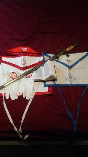 Vintage Texas Masonic Sword And Masonic Items And Book