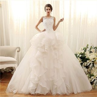 Cheri's Elegant Lace Organza Sweetheart Wedding Gown Detachable Train