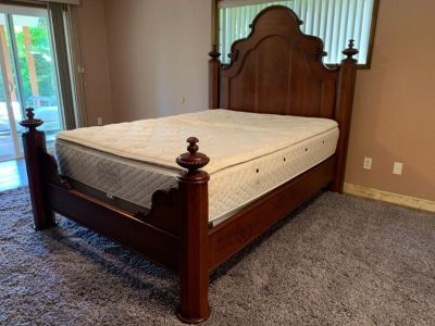 Armoire & Queen bed frame w/mattress