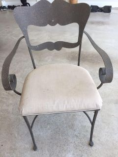 Set of Two Gray Iron Patio Chairs