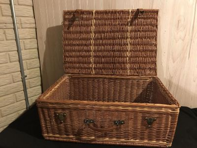 Wicker Suitcase Over-Sized Picnic Basket with Leather Detailing ~ Great Extra Storage or Wedding Decor