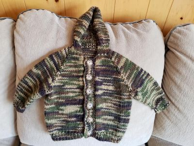 Button Down Hooded Sweater - Size: 6 to 12 Months