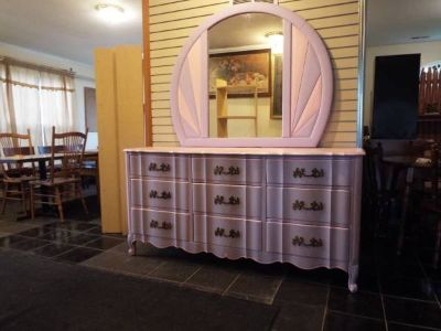Dresser with Large Mirror*French*Vintage*All Wood*Like New