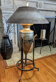 Vintage Brutalist Mixed Metal Lamp